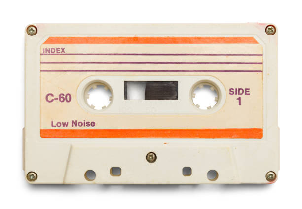 White Tape Cassette Old Cassette With Copy Space Isolated on White Background. audio cassette stock pictures, royalty-free photos & images