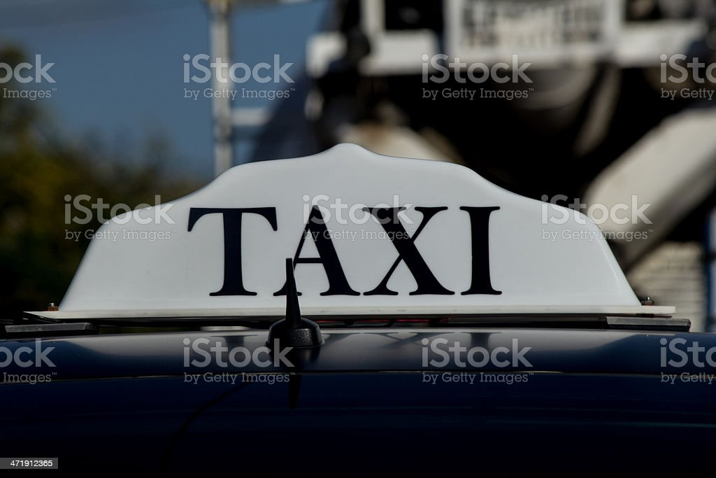 White taxi sign royalty-free stock photo