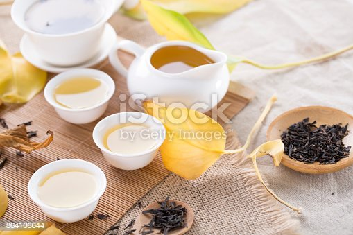 White Tea Cups And Autumn Leaves On The Table Autumn Tea Stock Photo & More Pictures of Asia