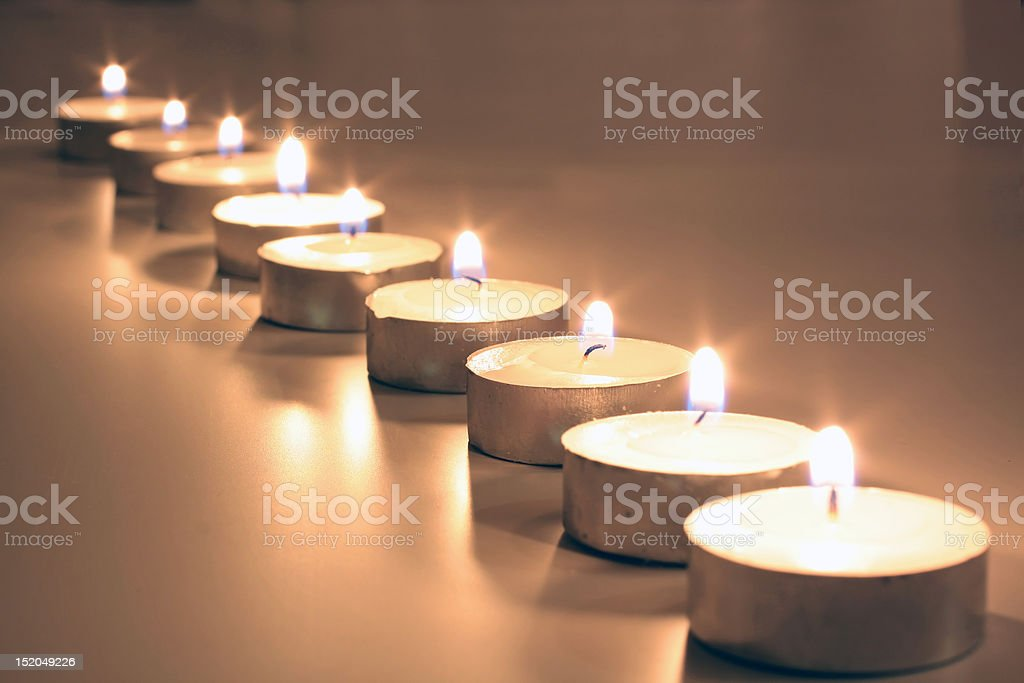 White tea lights as a Christmas decoration royalty-free stock photo