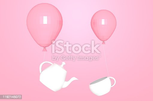 White teapot and cup fly with balloons abstract on pink background 3D illustration