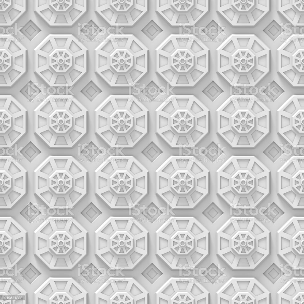 white tech background with octagon based shapes (seamless 3d) stock photo