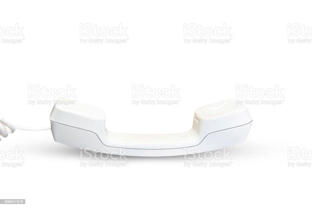 White telephone handset stock photo