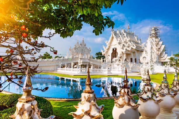 White temple in Chiang Rai stock photo