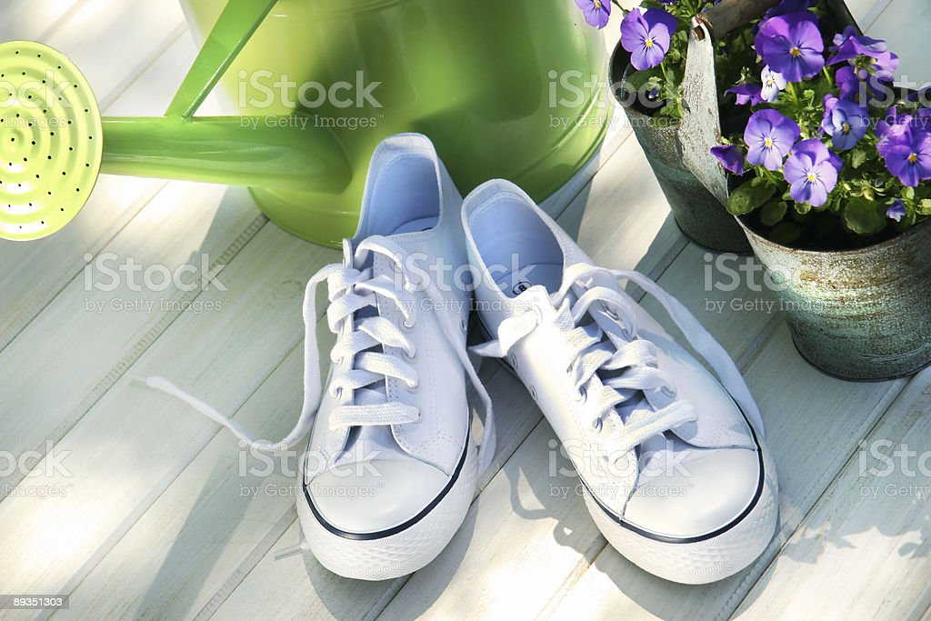 White tennis running shoes royalty-free stock photo