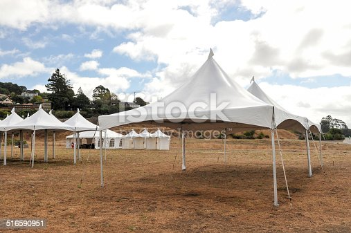 Tents in a field with some brown grass outside