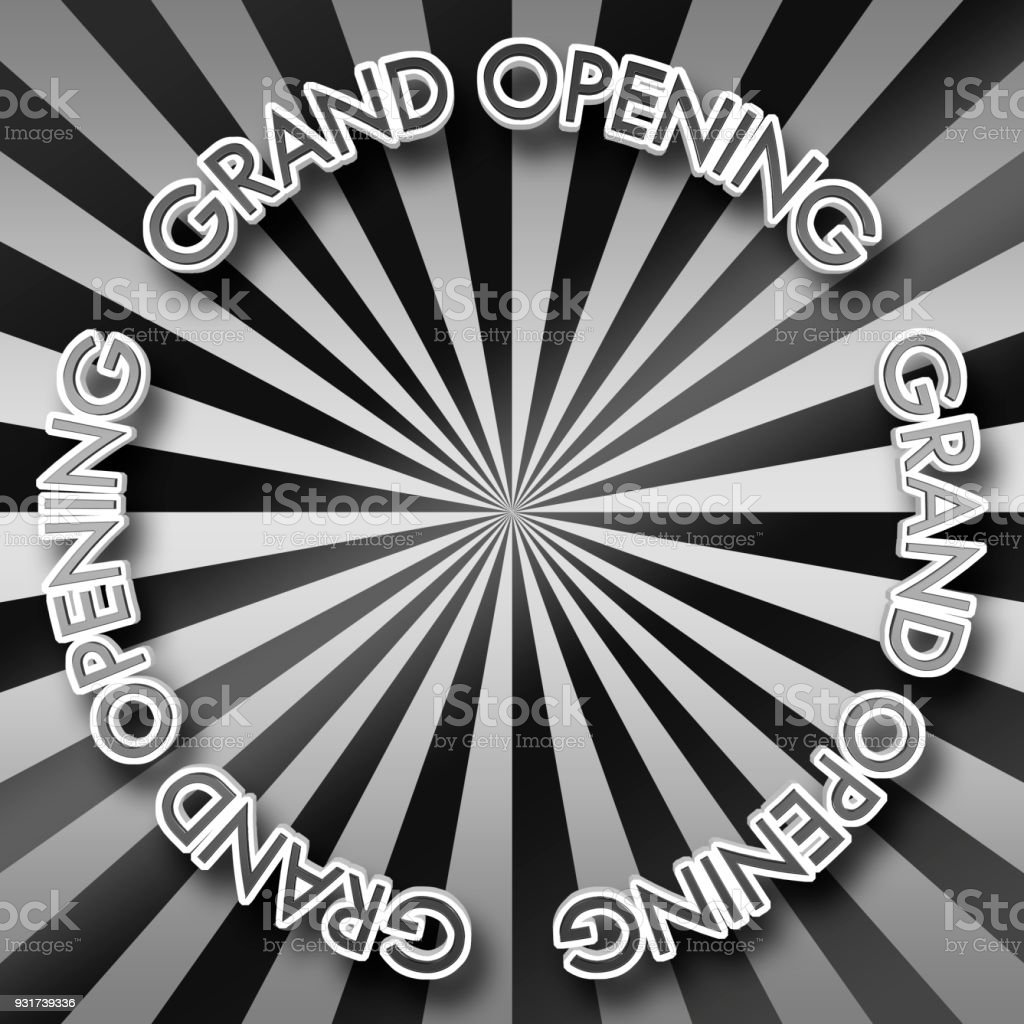 White Text: Grand Opening, Black Colored top text, 3D Illustration, Bright Against the Background, Copy Space, Announcement Template. stock photo