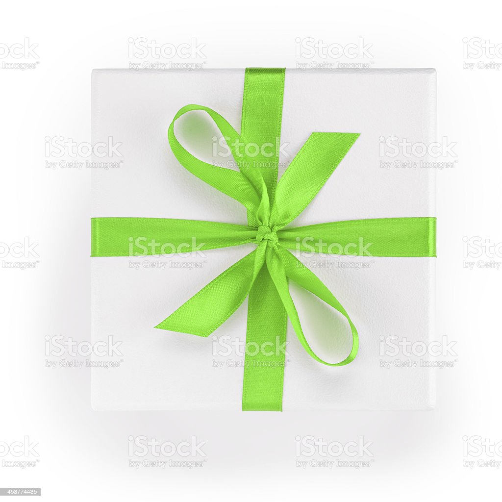 white textured gift box with green ribbon percent symbol stock photo