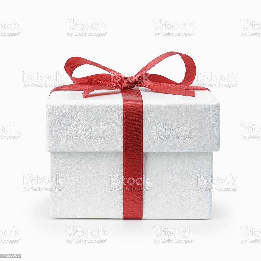Branco texturizado caixa de presente com Laço de Fita - Royalty-free Aniversário Foto de stock