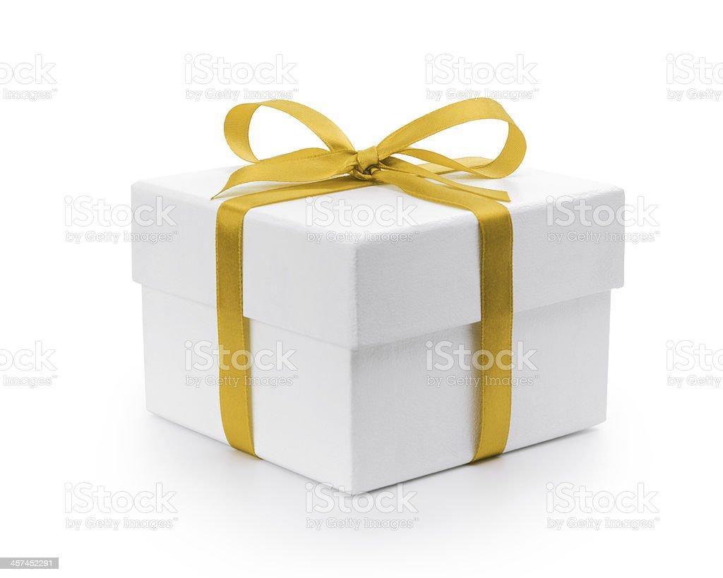 Bianco trama scatola regalo con fiocco di nastro giallo - foto stock