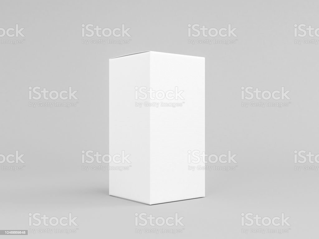 White Textured Paper Box Mockup Isolated On Gray Half Side View