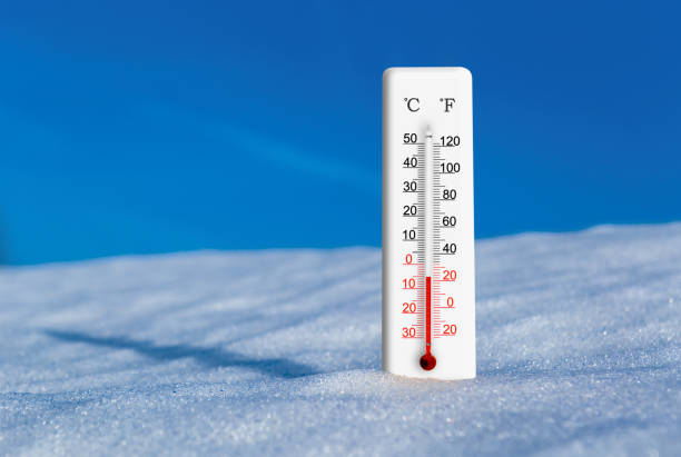 White thermometer in snow against blue sky. Thermometer display minus 5 degrees celsius stock photo