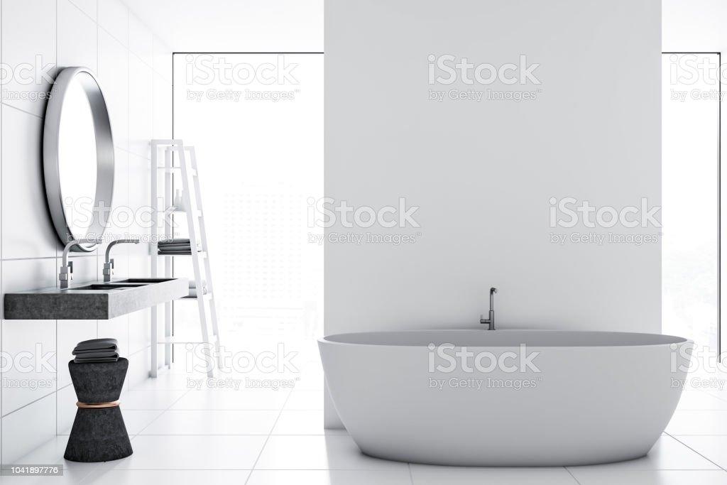 Weiße Fliesen Badezimmer Interieur Stockfoto und mehr Bilder ...