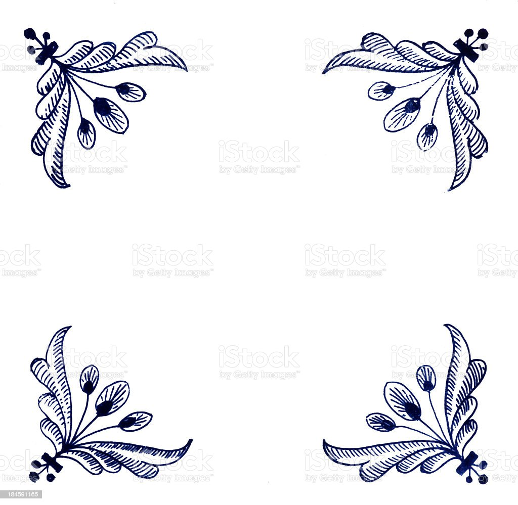 White tile with antique blue line design stock photo