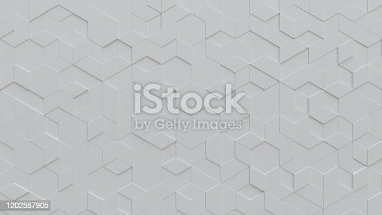 White abstract background with techie hexagon and triangle shaped tiles, technology concept, 3D rendering, 3d illustration
