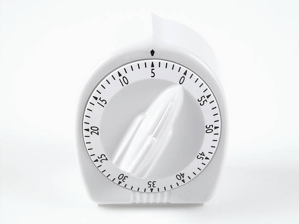 white timer set at five minutes A white timer on a white background set at five minutes, great way to say