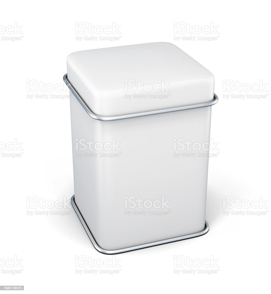 White tin box packaging container for tea or coffee stock photo