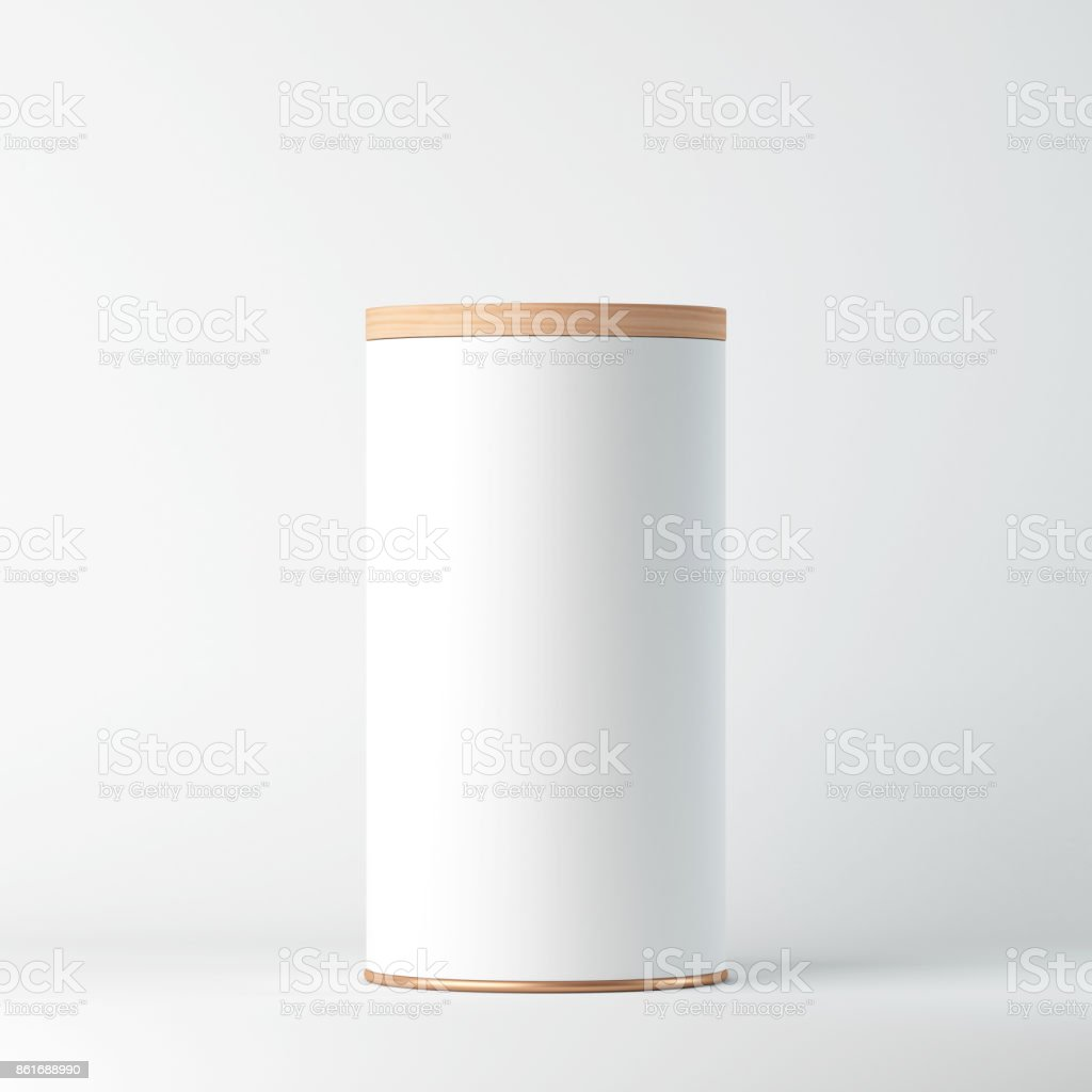 White Tin Can Mockup with wooden cover, lid. Cylindrical packaging, Tea, coffee stock photo