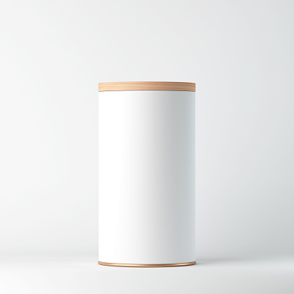 White Tin Can Mockup With Wooden Cover Lid Cylindrical Packaging Tea Coffee Stock Photo - Download Image Now