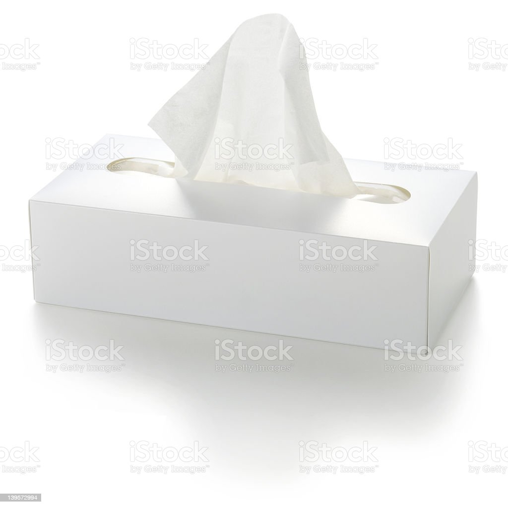 White tissue box on a white background stock photo