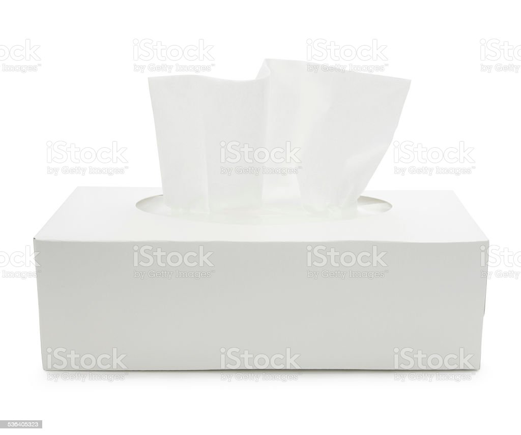 Blanco papel tisú caja (con ruta) - foto de stock