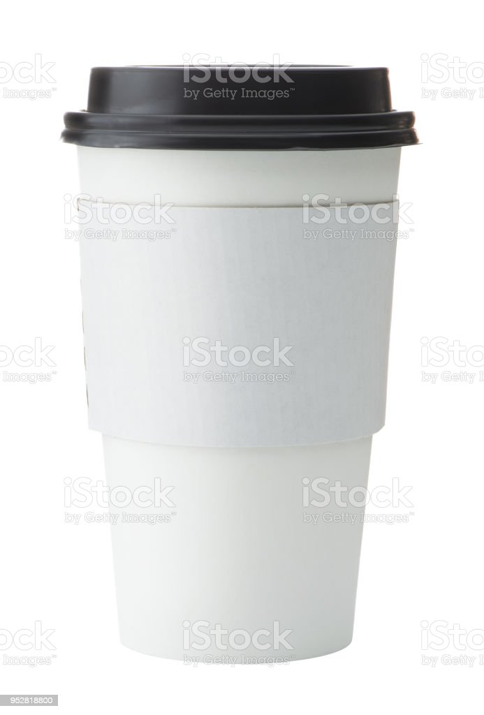 White To Go Coffee Cup with Black Lid royalty-free stock photo