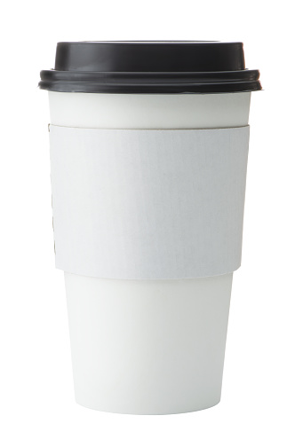 White To Go Coffee Cup With Black Lid Stock Photo - Download Image Now