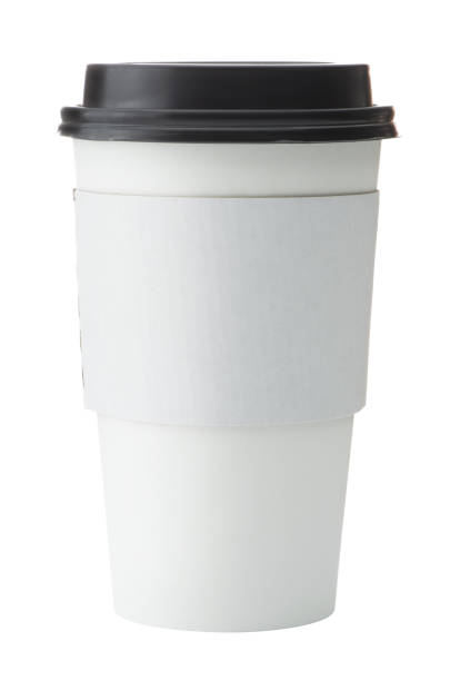 White To Go Coffee Cup with Black Lid stock photo