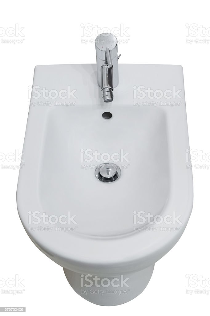 white toilet and bidet isolated on white background stock photo