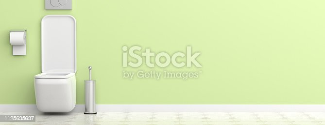 istock White toilet bowl and accessories on painted wall and tiled floor background, banner. 3d illustration 1125635637