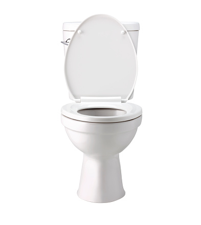 White toilet bowl in bathroom, isolated on white, photo image with clip path