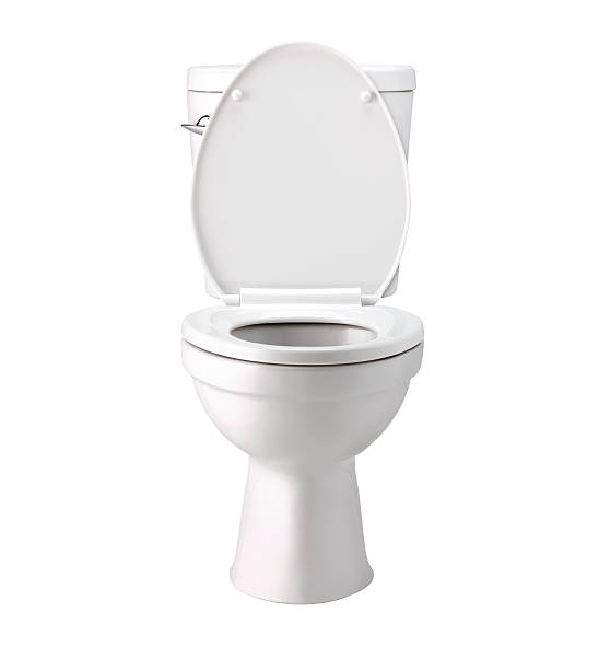 white toilet bowl in bathroom, isolated with clip path - seat stock photos and pictures