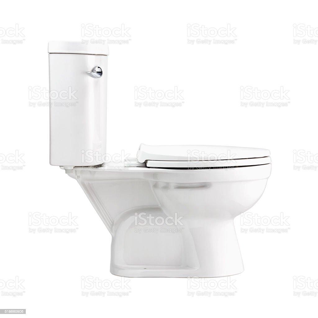 Bianco tazza del wc in bagno isolato con percorso clip fotografie stock e altre immagini di - Tazza del bagno prezzo ...