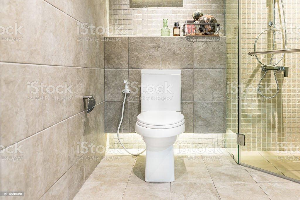 White toilet bowl in modern bathroom at hotel. stock photo