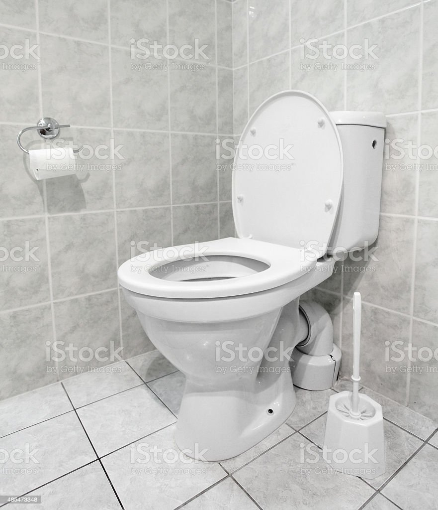 White toilet bowl. stock photo