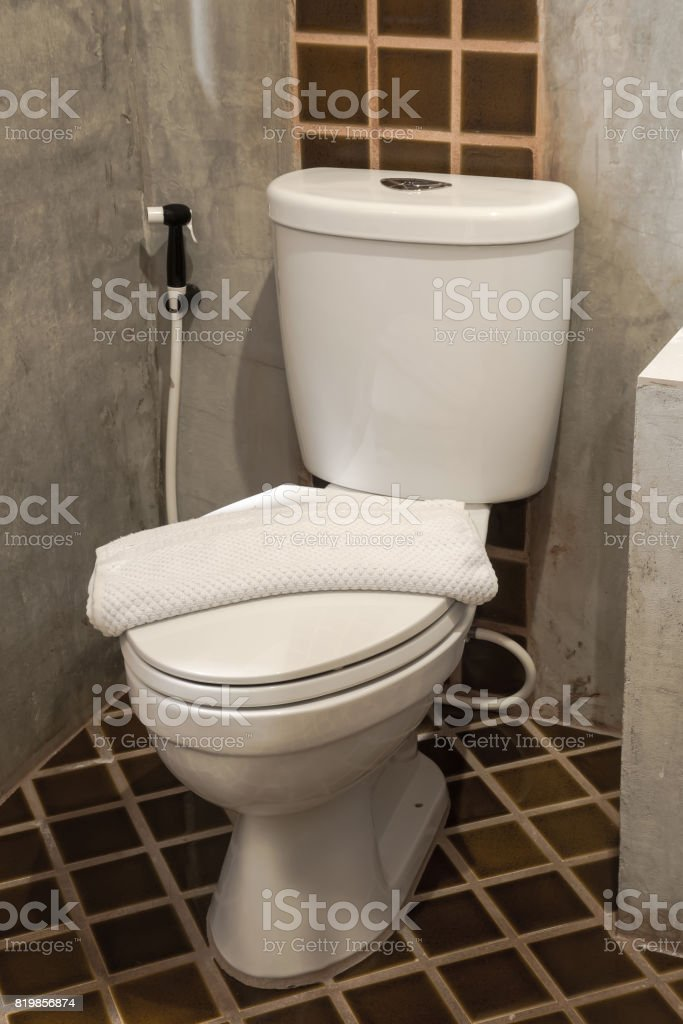 white toilet bowl stock photo