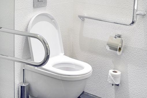 istock White toilet in the bathroom in luxury hotel. 1206406641