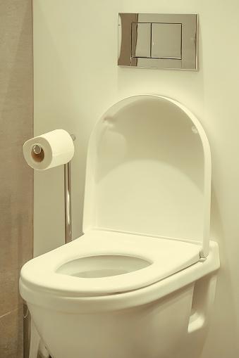 istock White toilet in the bathroom in luxury hotel. 1217872518