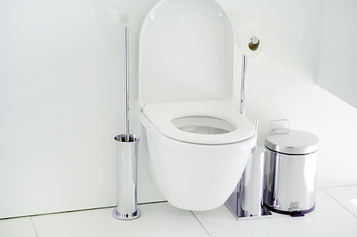 istock White toilet in the bathroom 1069316820