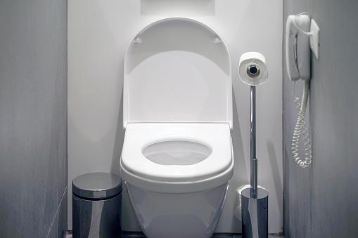 istock White toilet in the bathroom 1202956350