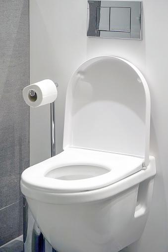 istock White toilet in the bathroom 1202956397