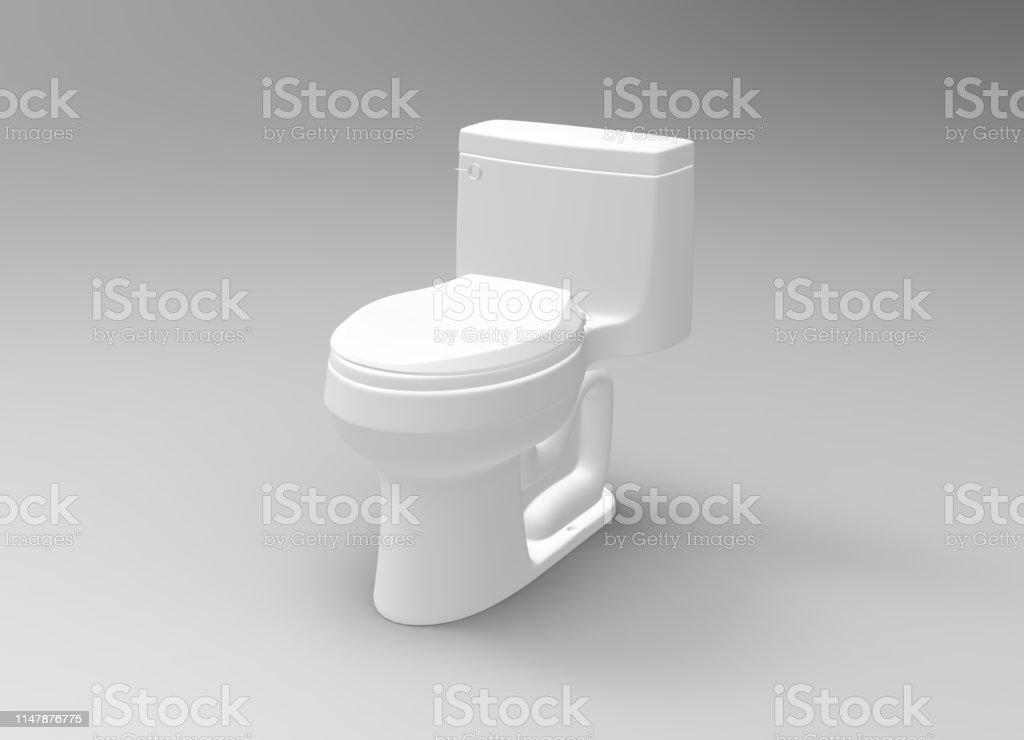 White toilet object 3D Rendering