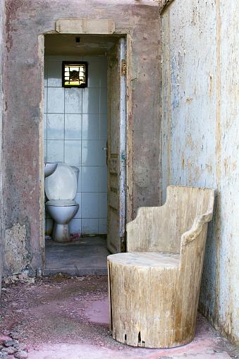 A white toilet on the street in Hurghada, Egypt
