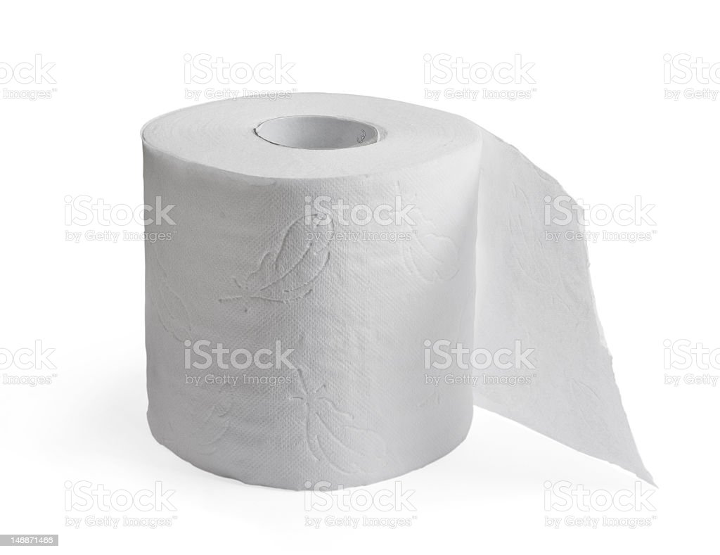 A white toilet paper roll on a white background stock photo