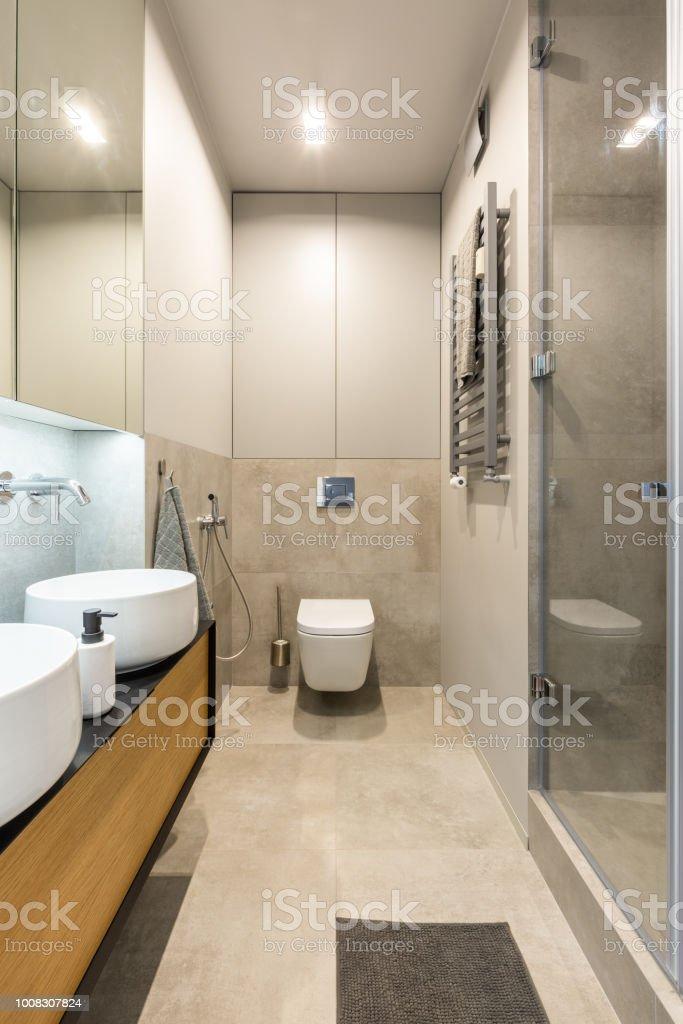 Weiße Toilette Unter Licht Im Badezimmer Beige Interieur Mit ...