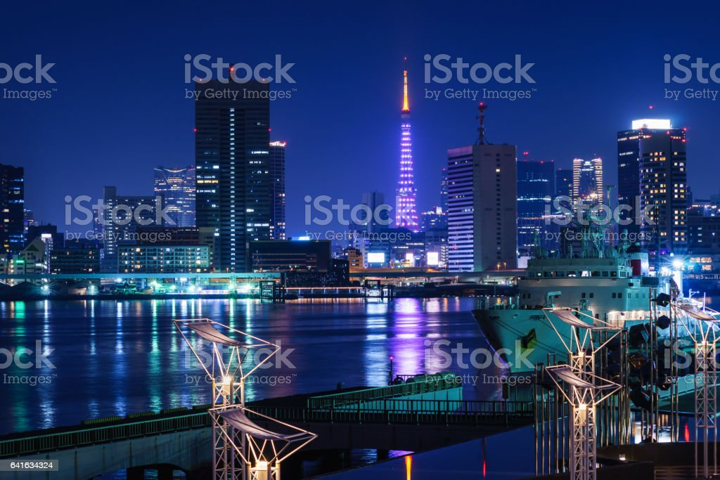 White Tokyo Tower and High Rise Buildings stock photo