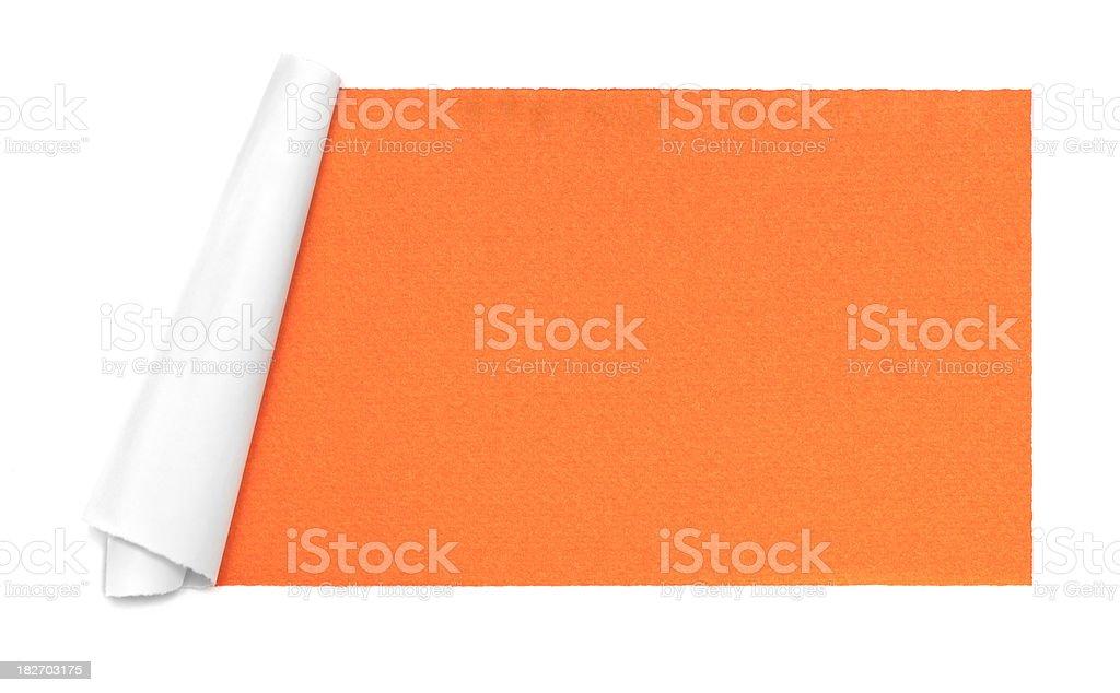 White torn paper frame on orange background royalty-free stock photo