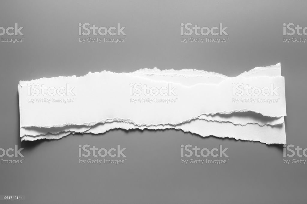white torn paper on grey background. collection paper rip