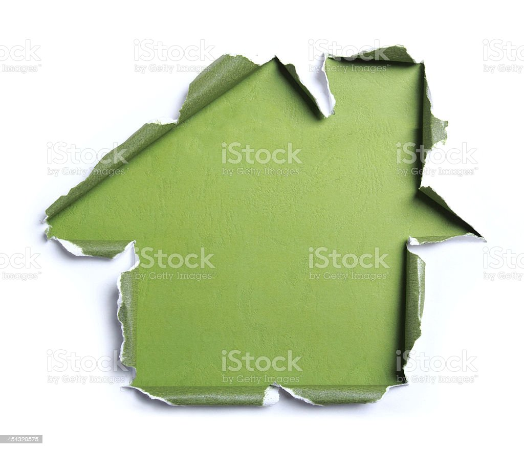 White torn paper with house shape royalty-free stock photo