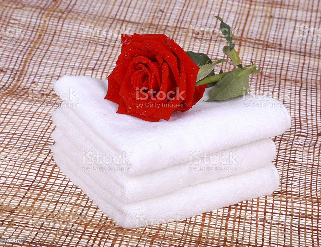white towel aromatherapy stock photo